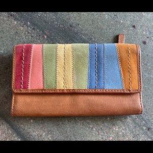 Vintage Fossil Wallet Multi-coloured Patchwork EUC